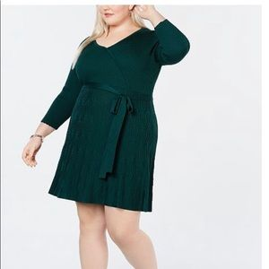 Nwt hunter green fit and flare sweater dress 2x